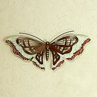 Iron wall sculpture, 'Aztec Butterfly' - Mosaic Glass Wall Art