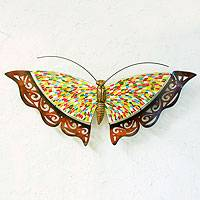 Iron wall sculpture, 'Rainbow Butterfly'