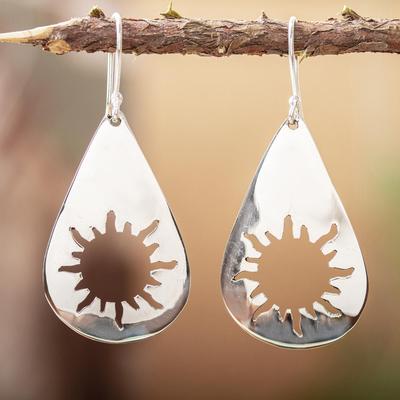 Sterling silver dangle earrings, 'Sun Drops' - Unique Sunshine Sterling Silver Dangle Earrings