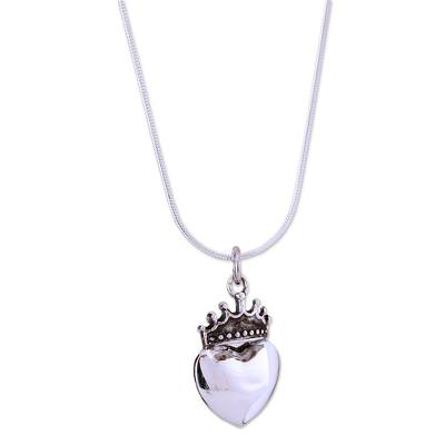 Sterling silver heart necklace, 'Love Coronation' - Sterling silver heart necklace