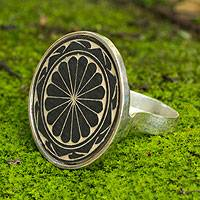 Dried gourd cocktail ring, 'Naturaleza' - Dried gourd cocktail ring