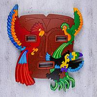 Wood display jigsaw puzzle, 'Tastuan Mask with Birds' - Wood display jigsaw puzzle