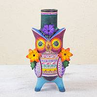 Ceramic candleholder, 'Flirty Aztec Owl' - Colorful Owl Candle Holder from Mexico