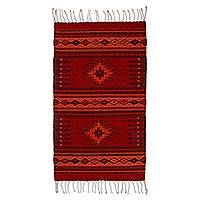 Zapotec wool rug, 'Fire of Light' (2x3.5)