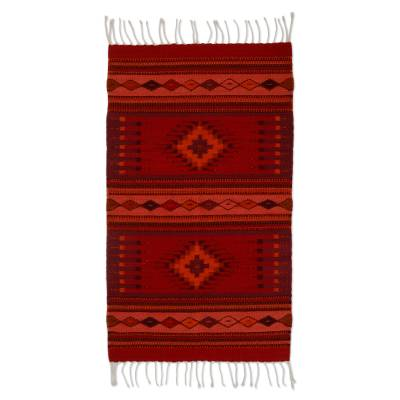 Zapotec wool rug, 'Fire of Light' (2x3.5) - Authentic Zapotec Handwoven Wool Rug with Floral Dyes 2x3