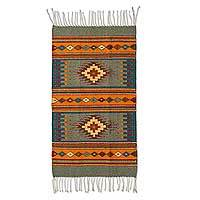 Zapotec wool rug, 'Valley of Light' (2x3.5)