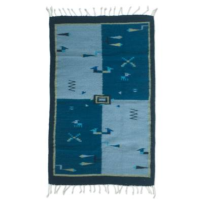 Blue Mexican Zapotec Rug (2x3.5)