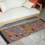 Zapotec Wool Rug 2 X 6 Multicolor Runner Mexico, 'Feast in Monte Alban'