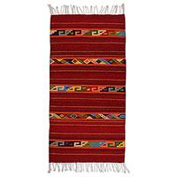 Zapotec wool rug, 'Festive Glyphs' (2.5x5) - Zapotec wool rug (2.5x5)