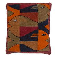 Zapotec wool cushion cover, 'Fish' - Handcrafted Mexican Wool Cushion Cover