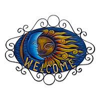 Forged iron welcome sign, 'Cheerful Eclipse' - Artisan Crafted Sun and Moon Steel Welcome Sign