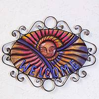Forged iron welcome sign, 'Mexican Sun' -  Outdoor Living Handcrafted Sunny Welcome Sign