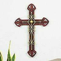 Iron wall sculpture, 'Parish Church Cross' - Handcrafted Mexican Christianity Steel Cross Wall Art