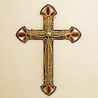 Iron wall sculpture, 'Vintage Cross'