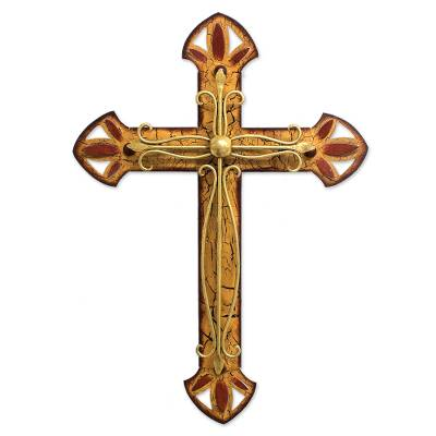 Iron wall sculpture, 'Vintage Cross' - Hand Crafted Christianity Vintage Steel Cross Sculpture