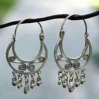 Sterling silver hoop earrings, 'Taxco Dancer' - Handcrafted Taxco Silver Hoop Earrings