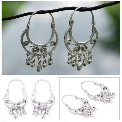 Sterling silver hoop earrings, 'Lithe Dancer' - Handmade Taxco Silver Hoop Earrings from Mexico