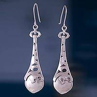 Sterling silver dangle earrings, 'Beacons' - Collectible Taxco Silver Dangle Earrings