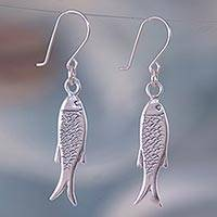 Sterling silver dangle earrings, 'Fish Wisdom' - Fair Trade Taxco Silver Sea Life Earrings