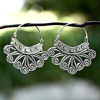 Sterling silver hoop earrings, 'Spiral Sierra' - Handcrafted Taxco Silver Hoop Earrings