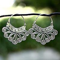 Sterling silver hoop earrings, 'Spiral Sierra' - Handcrafted Taxco Silver Hoop Earrings