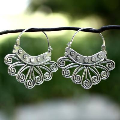 Sterling silver hoop earrings, 'Spiral Sierra' - Handcrafted Silver Hoop Earrings from Mexico