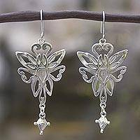 Sterling silver dangle earrings, 'Fairies' - Hand Made Sterling Silver Earrings