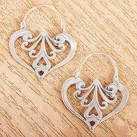 Sterling silver heart earrings, 'Mexican Romance'
