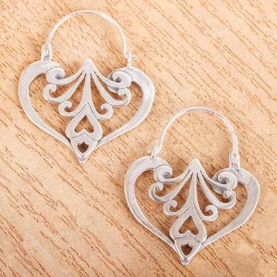 Sterling silver heart earrings, 'Mexican Romance' - Heart Shaped Sterling Silver Hoop Earrings