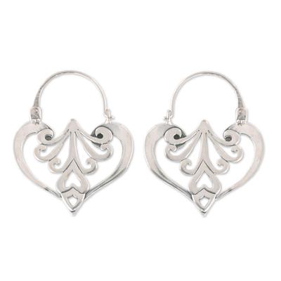 Heart Shaped Sterling Silver Hoop Earrings