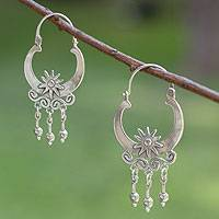Sterling silver hoop earrings, 'Days of Sun' - Hand Crafted Sterling Silver Hoop Earrings