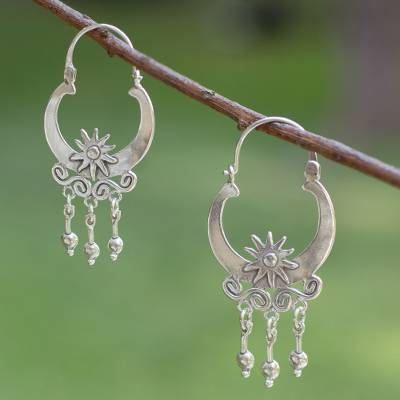 Sterling silver hoop earrings, 'Days of Sun' - Hand Crafted Taxco Sterling Silver Hoop Earrings