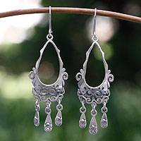 Sterling silver chandelier earrings, 'Treasure' - Taxco Silver Sterling Silver Chandelier Earrings