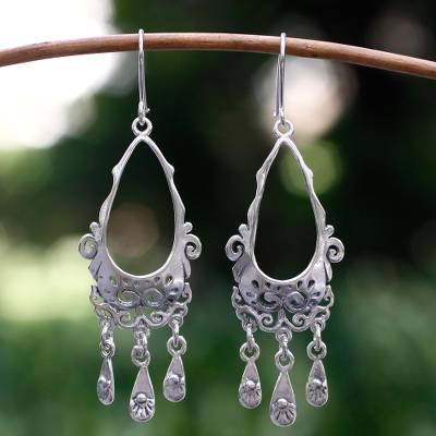 Sterling silver chandelier earrings, 'Treasure' - Silver Sterling Silver Chandelier Earrings