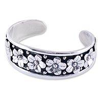 Sterling silver cuff bracelet, 'Baroque Bouquet' - Floral Sterling Silver Cuff Bracelet from Mexico