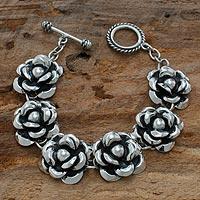 Sterling silver flower bracelet, 'Moonlit Roses' - Sterling Silver Flower Bracelet