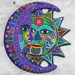 Fair Trade Sun and Moon Ceramic Wall Art, 'Turquoise Floral Eclipse'
