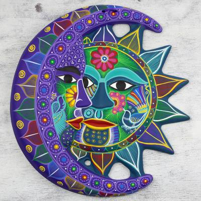Ceramic wall adornment, 'Turquoise Floral Eclipse' - Fair Trade Sun and Moon Ceramic Wall Art