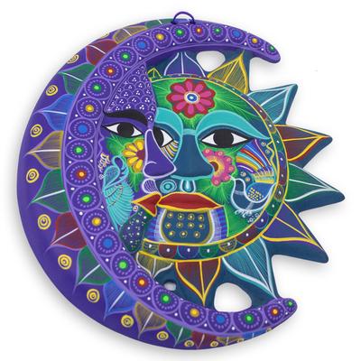 Fair Trade Sun and Moon Ceramic Wall Art - Turquoise ...