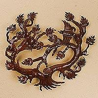 Iron wall sculpture, 'Shade Tree' - Iron wall sculpture