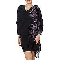 Zapotec cotton rebozo shawl, 'Black Zapotec Treasures' - Handwoven Mexican Cotton Womens Black Patterned Shawl