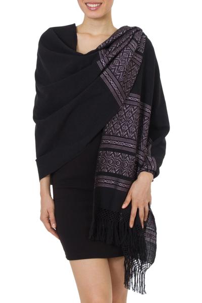 Zapotec cotton rebozo shawl, 'Black Zapotec Treasures' - Geometric Cotton Patterned Shawl