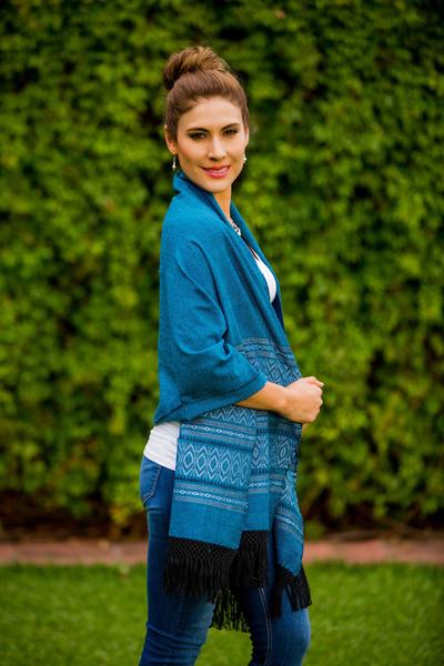 Zapotec cotton rebozo shawl, 'Blue Zapotec Treasures' - Mexican Geometric Cotton Patterned Shawl