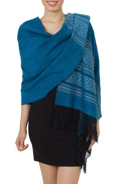 Mexican Geometric Cotton Patterned Shawl