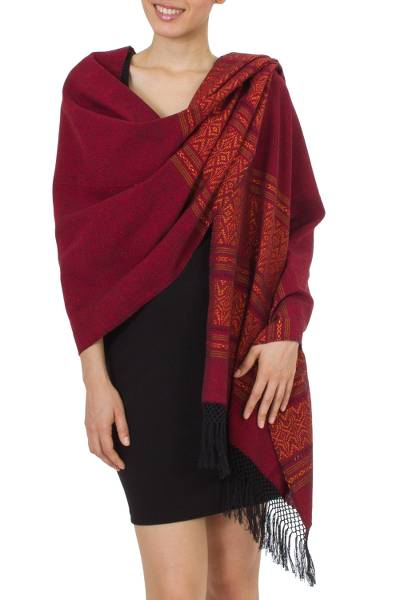 Zapotec cotton rebozo shawl, 'Red Zapotec Treasures' - Hand Crafted Geometric Cotton Patterned Shawl