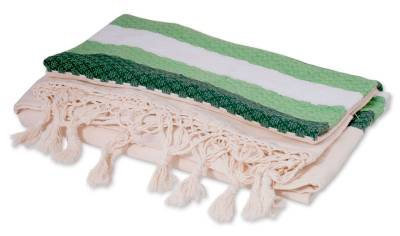 Zapotec cotton bedspread, 'Emerald Fields' (twin) - Fair Trade Zapotec Cotton Bedspread Quilt (Twin)