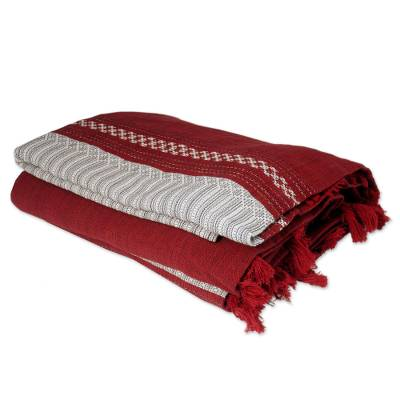 Zapotec cotton bedspread, 'Ruby History' (king) - Zapotec Red Cotton Striped Bedspread from Mexico (King)