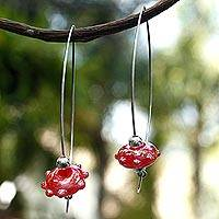Dichroic art glass dangle earrings, 'Scarlet Glow' - Dichroic art glass dangle earrings