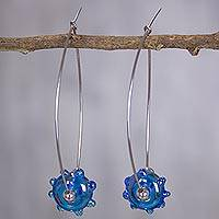 Dichroic art glass dangle earrings, 'Azure Glow' - Dichroic art glass dangle earrings