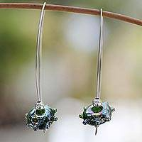 Dichroic art glass dangle earrings, 'Forest Glow' - Dichroic art glass dangle earrings